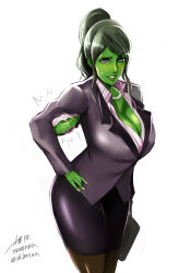 1girl bijin_onna_joushi_takizawa-san blush breasts business_suit cleavage commentary cosplay formal green_hair green_skin hair_up jennifer_walters jewelry large_breasts long_hair marvel muscle muscular_female necklace pencil_skirt purple_eyes raised_eyebrow she-hulk shibusun skirt smile solo suit sweatdrop takizawa takizawa_(cosplay) torn_clothes veins