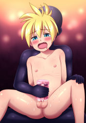 2boys blonde_hair blush cum drooling erection male_focus multiple_boys nipples nude orgasm penis saliva sex_toy shota sitting_on_person size_difference sweat testicles vocaloid yaoi young