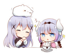 2girls beads blue_eyes blue_hair chibi crossover cup eyes_closed flot gochuumon_wa_usagi_desu_ka? hair_beads hair_ornament hairband hairclip hand_to_own_mouth hands_on_own_face horns kafuu_chino kanna_kamui kobayashi-san_chi_no_maidragon lavender_hair long_hair look-alike multiple_girls open_mouth ribbon smile tail teacup tippy_(gochiusa) twintails upper_body