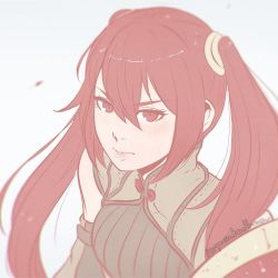 1girl artist_name female fire_emblem fire_emblem:_kakusei flat_color koyorin long_hair looking_at_viewer pale_color portrait red_eyes red_hair serena_(fire_emblem) simple_background sketch solo twintails watermark web_address white_background