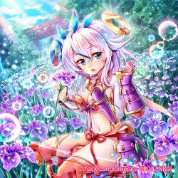 .hack// 1girl 2012 armor blue_eyes bridge compact_disc flower guilty_dragon minimaru navi-ko orange_legwear short_hair solo tattoo thighhighs white_hair