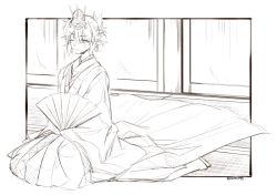 1girl blush fan folding_fan headdress japanese_clothes kimono mizuhashi_parsee one_eye_closed ootsuki_wataru pointy_ears seiza short_hair sitting sketch sleeves_past_wrists solo sweatdrop touhou