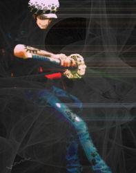 1boy hat jeans male nodachi one_piece solo sword tattoo trafalgar_law weapon