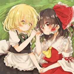 2girls :o apron blonde_hair blush bow braid brown_eyes brown_hair detached_sleeves frilled_shirt_collar frilled_skirt frills hair_bow hair_ribbon hair_tubes hakurei_reimu hand_holding kirisame_marisa kosencha large_bow long_hair looking_at_another looking_at_viewer lying multiple_girls open_mouth pinky_swear puffy_short_sleeves puffy_sleeves ribbon ribbon-trimmed_sleeves ribbon_trim short_sleeves side-by-side side_braid single_braid skirt touhou waist_apron wide_sleeves yellow_eyes yuri
