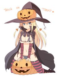 1girl alternate_costume bikini bismarck_(kantai_collection) blonde_hair blue_eyes blush boots bow breasts cape cleavage detached_sleeves hair_bow halloween hat highres jack-o'-lantern kantai_collection large_breasts long_hair looking_at_viewer navel oota_yuuichi simple_background solo striped striped_legwear swimsuit thighhighs trick_or_treat white_background witch_hat