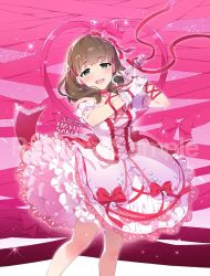 1girl :d artist_name bare_legs blue_eyes blush bow bowtie breasts brown_hair character_name choker copyright_name dress earrings eyebrows eyebrows_visible_through_hair frilled_choker frilled_dress frilled_gloves frills gloves hair_bow hairband heart holding_microphone idolmaster idolmaster_cinderella_girls jewelry long_hair looking_at_viewer medium_breasts microphone open_mouth pink_background pink_bow pink_bowtie pinky_out red_bow red_bowtie red_ribbon redrop ribbon sakuma_mayu sample smile solo sparkle watermark white_gloves