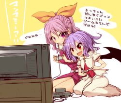 >:d 2girls :d background_text bat_wings belt blush breasts dress fang full_body game_console hair_ornament hair_ribbon height_difference kuresento lavender_hair long_hair looking_at_another multiple_girls no_hat open_mouth petite pink_eyes playing_games ponytail puffy_short_sleeves puffy_sleeves red_eyes remilia_scarlet ribbon shirt short_hair short_sleeves sitting skirt smile speech_bubble super_famicom super_nintendo sweatdrop television text touhou translated vampire vest wariza watatsuki_no_yorihime wavy_mouth wings