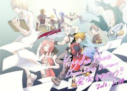 4girls 6+boys alternate_hairstyle aqua_(kingdom_hearts) armor axel axel_(kingdom_hearts) black_hair blonde_hair blue_hair brown_hair chain_necklace cloak crayon dated detached_sleeves facial_mark gloves green_eyes kairi kairi_(kingdom_hearts) keyblade kingdom_hearts kingdom_hearts_358/2_days kingdom_hearts_3d_dream_drop_distance kingdom_hearts_birth_by_sleep koumori_bat kutyuroukaku multiple_boys multiple_girls namine paper red_hair riku roxas sandals short_hair silver_hair sketchbook sora_(kingdom_hearts) terra_(kingdom_hearts) ventus wondernyan wondernyan_(kingdom_hearts) wristband xion_(kingdom_hearts)