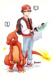 ! ... 1boy artist_name backpack bag baseball_cap belt black_hair charmeleon denim fingerless_gloves fire full_body gloves grey_eyes hat highres jacket jeans letterman_jacket looking_at_another male_focus map open_clothes open_jacket pants pokemon pokemon_(creature) pokemon_(game) pokemon_rgby raw_gummy red_(pokemon) red_eyes shoes simple_background sneakers spoken_ellipsis spoken_exclamation_mark twitter_username white_background