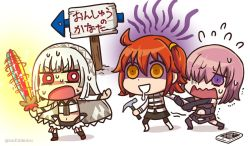 3girls altera_(fate) bare_shoulders bright_pupils cellphone cracked dark_skin detached_sleeves drooling fate/grand_order fate_(series) flying_sweatdrops fujimaru_ritsuka_(female) multiple_girls null2deoru orange_hair phone purple_hair red_eyes riyo_(lyomsnpmp)_(style) shielder_(fate/grand_order) short_hair sign smartphone sweat sword translation_request veil weapon white_hair yellow_eyes