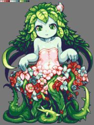 1girl alraune bare_shoulders blue_skin child color_guide curtsey dress flat_chest flower green_eyes green_hair hair_ornament leaf long_hair monster_girl original parted_lips pixel_art plant_girl sb sb_(coco1) solo thorns vines