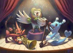 bird brionne brown_eyes cat curtains dartrix eyes_closed fang harp ho-oh_(artist) instrument music no_humans owl playing_instrument pokemon pokemon_(game) pokemon_sm signature singing smile spotlight stage torracat trumpet yellow_sclera