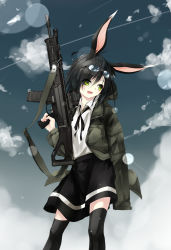 1girl animal_ears assault_rifle black_hair black_legwear blue_sky bunny_ears cloud goggles goggles_on_head gorilla_(bun0615) green_eyes gun highres jacket long_sleeves masada_acr open_clothes open_jacket open_mouth original rifle shirt skirt sky smile solo thighhighs thighs weapon zettai_ryouiki