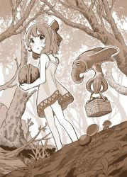 1girl animal apple bangs bare_legs bare_tree basket blush bow branch creature cuttlefish dress duke_(kimurasun) eyebrows_visible_through_hair floating flower food forest from_below fruit grass hair_bow highres holding holding_basket looking_back monochrome moss mushroom nature nut_(food) original outdoors oversized_object sepia short_hair short_ponytail solo standing sundress tree