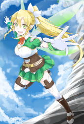 1girl blonde_hair braid fairy_wings gloves green_eyes highres leafa long_hair outstretched_arms pointy_ears ponytail spread_arms sword_art_online twin_braids wings yakku
