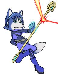 1girl belt blue_hair bodysuit boots claws clenched_teeth female green_eyes hair_ornament jewelry krystal magic nintendo poorly_drawn short_hair simple_background solo staff star_fox tail teeth weapon