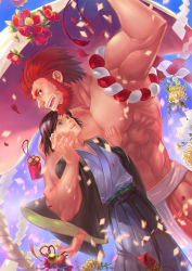 2boys beard black_hair conner20130806 facial_hair fate/zero fate_(series) flower fundoshi green_eyes highres japanese_clothes kimono multiple_boys red_hair rider_(fate/zero) trap waver_velvet