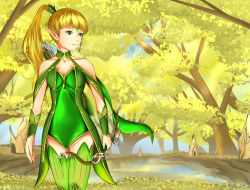 1girl bangs blonde_hair breasts dragon_nest dress elf female forest gold_hair green_eyes high_ponytail leotard long_hair nature outdoors plant ponytail sky solo