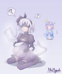 2girls ? ^_^ artist_name black_boots black_dress blindfold bluemagenta boots cleavage_cutout confused cosplay covering_mouth drag-on_dragoon dress duo eyes_closed fan female full_body gloves hairband hat high_heel_boots high_heels hitodama holding holding_fan japanese_clothes juliet_sleeves konpaku_youmu konpaku_youmu_(ghost) laughing leotard lips long_sleeves multiple_girls nier_(series) nier_automata parted_lips pink_hair puffy_sleeves saigyouji_yuyuko short_hair silver_hair simple_background sitting spoken_question_mark thigh_boots thighhighs touhou triangular_headpiece wariza white_leotard yorha_no._2_type_b yorha_no._2_type_b_(cosplay) yorha_unit_no._2_type_b yorha_unit_no._2_type_b_(cosplay)