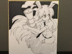 1girl :3 absurdres animal_ears belt breasts bunny_ears bunny_tail dark_background floating_hair futa4192 gun highres holding holding_gun holding_weapon legs_together long_hair looking_to_the_side lunatic_gun medium_breasts monochrome necktie photo puffy_short_sleeves puffy_sleeves reisen_udongein_inaba shikishi shirt short_sleeves sketch skirt smile solo tail touhou traditional_media weapon white_background