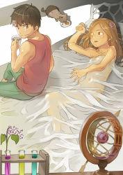1boy 1girl bed cat cat_food coffee cup eating morning mug naked_sheet nude original see-through waking_up