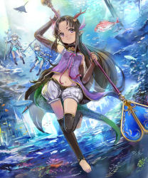 3girls arms_up barefoot blurry bridal_gauntlets brown_hair contrapposto depth_of_field fish floating_hair head_tilt horns light long_hair looking_at_viewer manta_ray midriff multiple_girls navel ocean pointy_ears puffy_shorts purple_eyes rhodomina shadowverse shingeki_no_bahamut shorts staff sunlight thighhighs underwater weapon