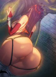 1girl ass brick_wall bridal_gauntlets censored earrings fellatio from_behind hand_on_another's_head highres homare_(fool's_art) jewelry kneeling long_hair mosaic_censoring nail_polish oral original pussy red_eyes shiny shiny_skin solo_focus