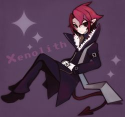 1boy character_name coat disgaea disgaea_d2 gloves kazamine_(stecca) legs_crossed male pants pointy_ears purple_background red_eyes red_hair scarf shoes solo tail xenolith