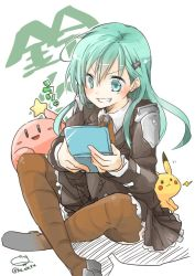1girl aqua_eyes aqua_hair hair_ornament hairclip jacket kantai_collection kirby kirby_(series) long_hair nerokuro nintendo nintendo_3ds open_mouth pikachu pleated_skirt pokemon pokemon_(game) school_uniform sitting skirt smile suzuya_(kantai_collection) thighhighs twitter_username