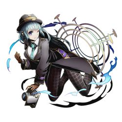 1girl blue_eyes blue_hair breasts brown_gloves divine_gate full_body gloves green_necktie hat holding large_breasts long_hair looking_at_viewer muneime necktie official_art one_eye_closed sangeishin shadow solo transparent_background ucmm very_long_hair