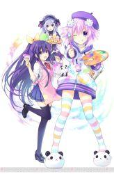 3girls art_brush choujigen_game_neptune d-pad date_a_live fairy_fencer_f frills hair_ornament long_hair multiple_girls neptune_(choujigen_game_neptune) neptune_(series) paint paint_can paintbrush painting palette ponytail pudding purple_hair short_hair tea tiara_(fairy_fencer_f) tsunako white_hair yatogami_tooka