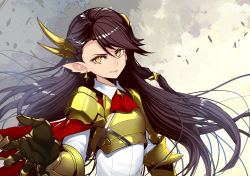 1girl armor black_hair earrings gauntlets headwear highres jewelry light_smile long_hair looking_at_viewer pixiv_fantasia pixiv_fantasia_t pointy_ears realmbw smile solo yellow_eyes