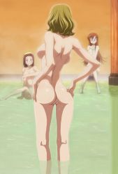 3girls ass back backboob bare_shoulders barefoot bath blonde_hair blue_eyes blush breasts brown_hair code_geass covering female green_eyes kallen_stadtfeld large_breasts legs long_hair milly_ashford moon multiple_girls nude nude_cover open_mouth photoshop pussy red_hair shared_bathing shirley_fenette short_hair uncensored water