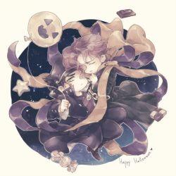 2boys balloon candy chibi halloween jojo_no_kimyou_na_bouken kakyouin_noriaki kuujou_joutarou multiple_boys muted_color nagaya ribbon