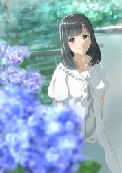 1girl arms_at_sides black_hair blue_eyes blush breasts collarbone eyebrows_visible_through_hair flower highres hydrangea k_ryo large_breasts long_hair looking_at_viewer original smile solo standing