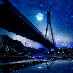 bridge building dark fisheye full_moon light_particles moon night night_sky no_humans original power_lines reflection scenery sky star_(sky) suspension telephone_pole water zonomaru