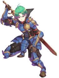 absurdres alm_(fire_emblem) aqua_hair armor blue_eyes cape fire_emblem fire_emblem:_kakusei fire_emblem_gaiden green_hair haccan highres official_art sword weapon
