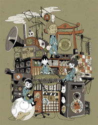 commentary_request crt eyes_closed gong instrument instrument_request koto_(instrument) ponytail rakudai_ninja_rantarou rope shide shimenawa shuriken skull speaker television tokyo_mononoke