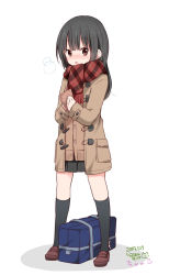 1girl :o artist_name bag bangs black_hair black_legwear black_skirt blush breath brown_eyes brown_shoes cardigan chijou_noko chikanoko copyright_name dated duffel_coat eyebrows_visible_through_hair fring full_body highres holding kneehighs legs_apart loafers long_hair looking_at_viewer miniskirt open_mouth plaid plaid_scarf pleated_skirt ragho_no_erika red_scarf scarf school_bag shoes signature simple_background skirt solo standing white_background