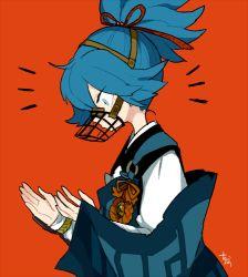 1boy artist_name blue_eyes blue_hair kote l_hakase lowres male_focus muzzle orange_background profile sayo_samonji simple_background solo touken_ranbu