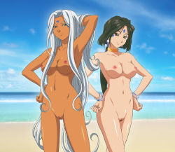 2girls aa_megami-sama arm_behind_back arm_up artist_request bare_legs bare_shoulders beach black_hair blue_eyes breasts brown_eyes cleavage dark_skin facial_mark female hand_on_hip hands_on_hips jewelry large_breasts legs low_ponytail multiple_girls neck neck_ring nipples nude peorth pussy silver_hair smile standing uncensored urd