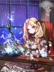 1girl artist_name bird blonde_hair bow bow_(weapon) braid chair company_name copyright_name full_body gem gyakushuu_no_fantasica kanola_u long_hair official_art purple_eyes rain sitting solo sparkle weapon window