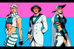 abs arm_behind_back black_hair blue_eyes bow bowtie caesar_anthonio_zeppeli cane clenched_hand crop_top cropped_vest facial_hair facial_mark fingerless_gloves gloves groin gyro_zeppeli hat headband holster jojo_no_kimyou_na_bouken letterboxed long_hair marion-ville midriff muscle mustache scarf smile steel_ball_run striped striped_scarf top_hat vest white_hair will_anthonio_zeppeli winged_hair_ornament