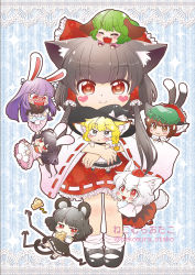 6+girls :< :3 animal_ears apron ass black_dress black_hair blazer blonde_hair bloomers blush bow braid brown_eyes brown_hair bunny_ears bunny_tail capelet carrot cat_ears cat_tail cheese chen chibi chibi_on_head covering covering_crotch dowsing_rod dress ear_piercing eating eyes_closed fang green_hair grey_dress grey_eyes hair_tubes hakurei_reimu hat hat_bow heart inaba_tewi inubashiri_momiji jacket jewelry kasodani_kyouko kemonomimi_mode kirisame_marisa long_hair long_sleeves minigirl mob_cap mouse_ears mouse_tail multiple_girls multiple_tails nazrin necklace nekomura_otako open_mouth pendant piercing pink_dress puffy_short_sleeves puffy_sleeves purple_hair red_dress red_eyes reisen_udongein_inaba shirt short_sleeves silver_hair single_braid single_earring skirt skirt_pull smile symbol-shaped_pupils tail tears tokin_hat tongue tongue_out touhou underwear very_long_hair waist_apron wide_sleeves witch_hat wolf_ears wolf_tail