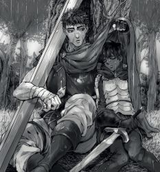 1boy 1girl armor bandage berserk black_hair blush boots cape casca eyes_closed fingerless_gloves gloves guts highres kkuwa leaning_on_object leaning_to_the_side monochrome rain short_hair sword tree weapon wet