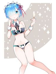 1girl bikini blue_eyes blue_hair bra breasts detached_collar dutch_angle food hair_ornament hair_over_one_eye hair_ribbon headdress ice_cream knees_together_feet_apart looking_at_viewer medium_breasts mosu2 navel panties popsicle re:zero_kara_hajimeru_isekai_seikatsu rem_(re:zero) ribbon short_hair simple_background solo sparkle_background standing swimsuit underwear x_hair_ornament