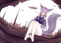 1girl animal_ears feet female kitsune md5_mismatch otono_fei panties pantyhose resized striped_panties tail underwear