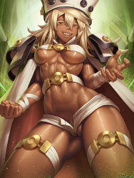 1girl abs areola_slip areolae belt beltbra blonde_hair breasts cape claw_pose colored_eyelashes cowboy_shot dark_skin erect_nipples eyelashes fighting_stance grin guilty_gear guilty_gear_xrd hair_between_eyes hat highres john_ly long_hair looking_at_viewer medium_breasts micro_shorts orange_eyes partially_visible_vulva pubic_hair ramlethal_valentine sharp_teeth short_shorts shorts smile solo sweat teeth thigh_strap toned underboob wedgie