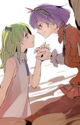 2girls frog frog_hair_ornament green_eyes green_hair hair_ornament hand_holding hichiko kochiya_sanae long_hair multiple_girls purple_hair red_eyes ribbon rope shimenawa short_hair sleeveless smile touhou yasaka_kanako