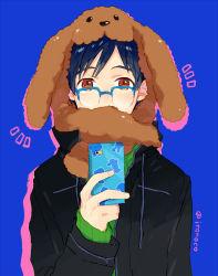 1boy animal_hat black_hair blue-framed_eyewear brown_eyes cellphone dog_hat glasses hat itonoko jacket katsuki_yuuri male_focus phone smartphone yuri!!!_on_ice